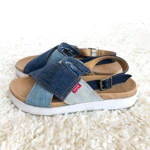 Levi's Denim Persia Sandals Platform White Blue